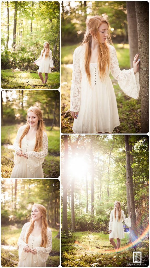 Redhead high school senior in white dress in South Jersey woods