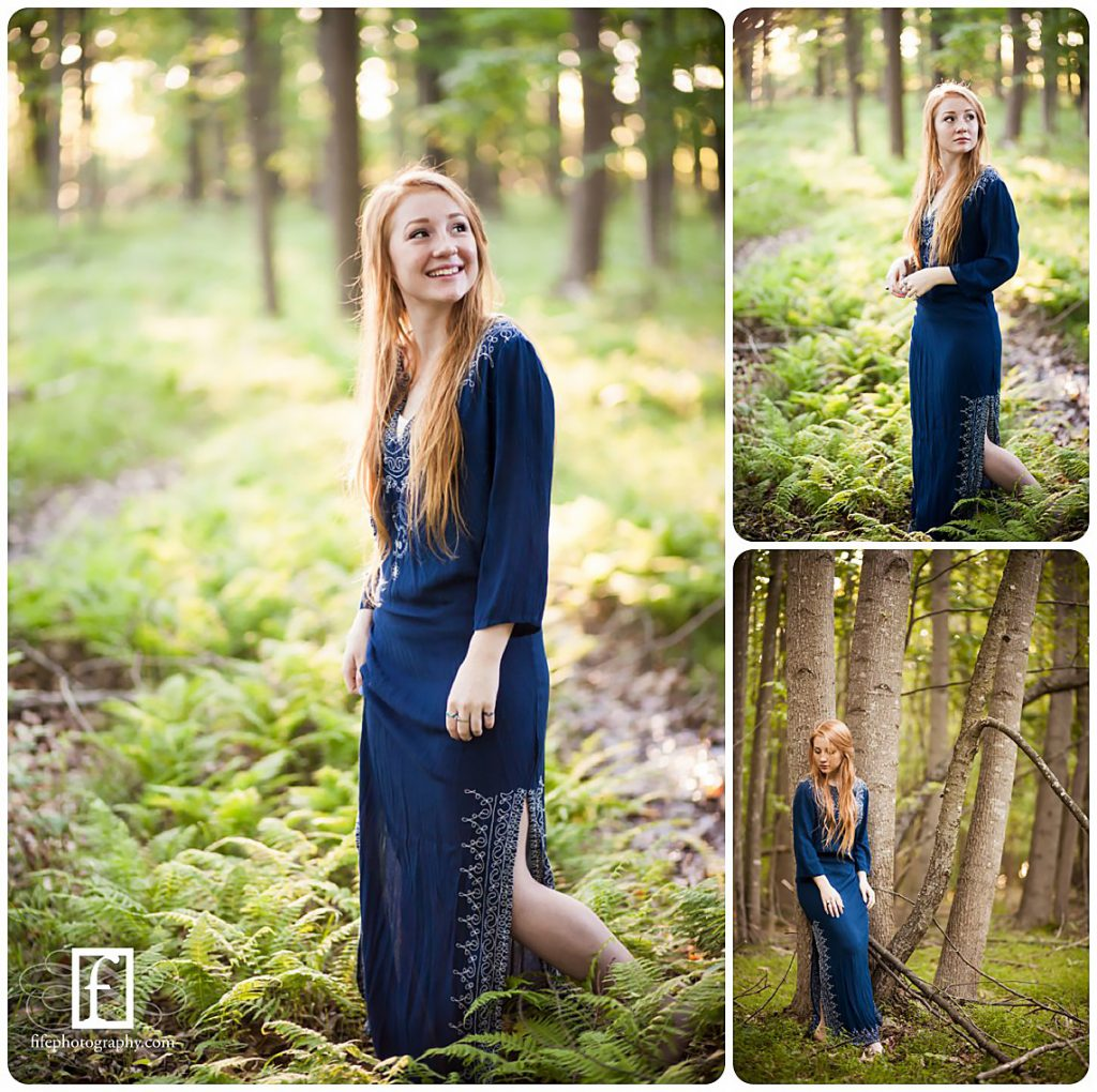 Redhead high school senior in blue dress in South Jersey woods